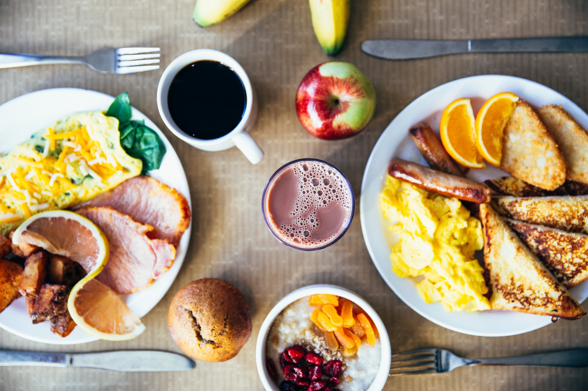 variety of delicious breakfast foods