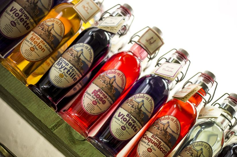 bottles of different flavored syrups